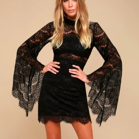 f63eb2701ce BEWITCHING BABE BLACK LACE BELL SLEEVE DRESS